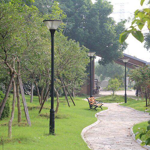 solar post light installed in the park