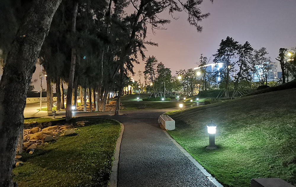 solar bollard light in the park