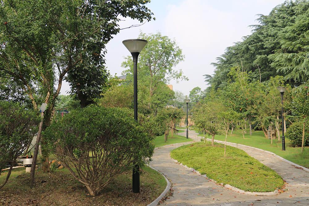 Solar Post Top Light Installed in a Public Garden 1