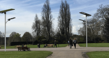 integrated solar street light in the park