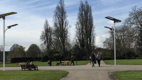 integrated solar street light in the park